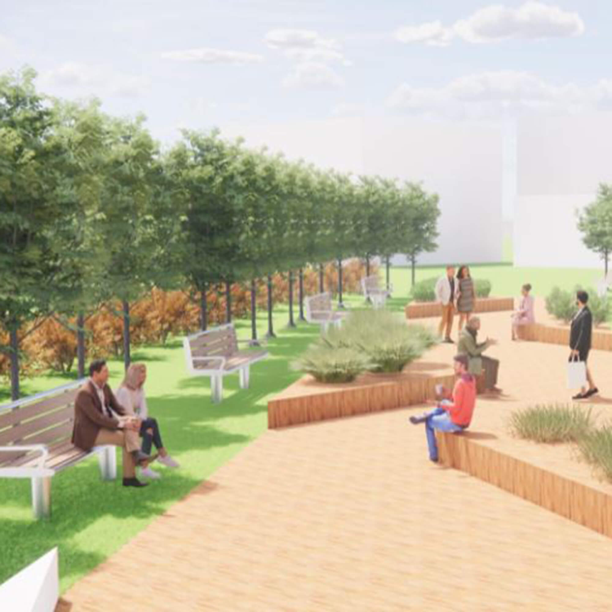Drawing of an outside area with people sitting in the sun.