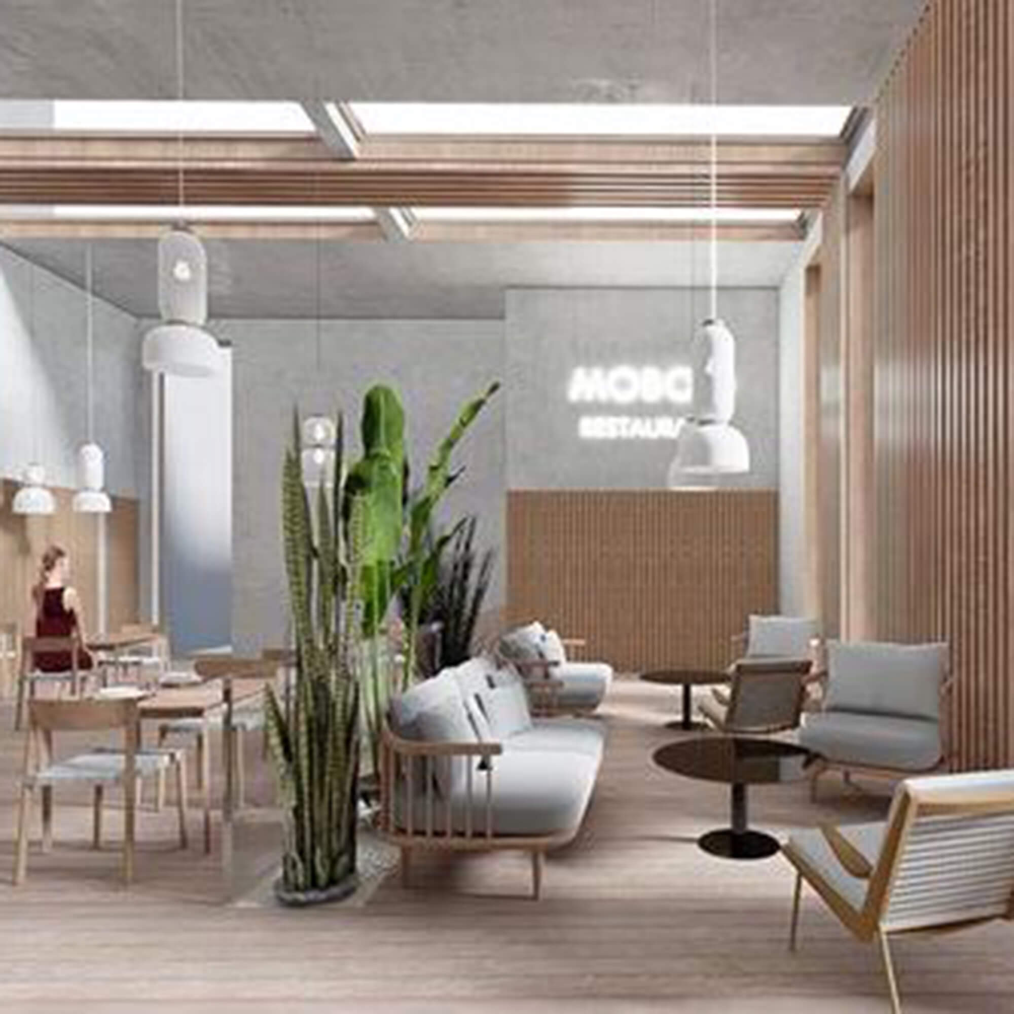 Monika Blauciak design of interior restaurant, including white and wood chairs, large plants, and white pendant lights hanging from the ceiling