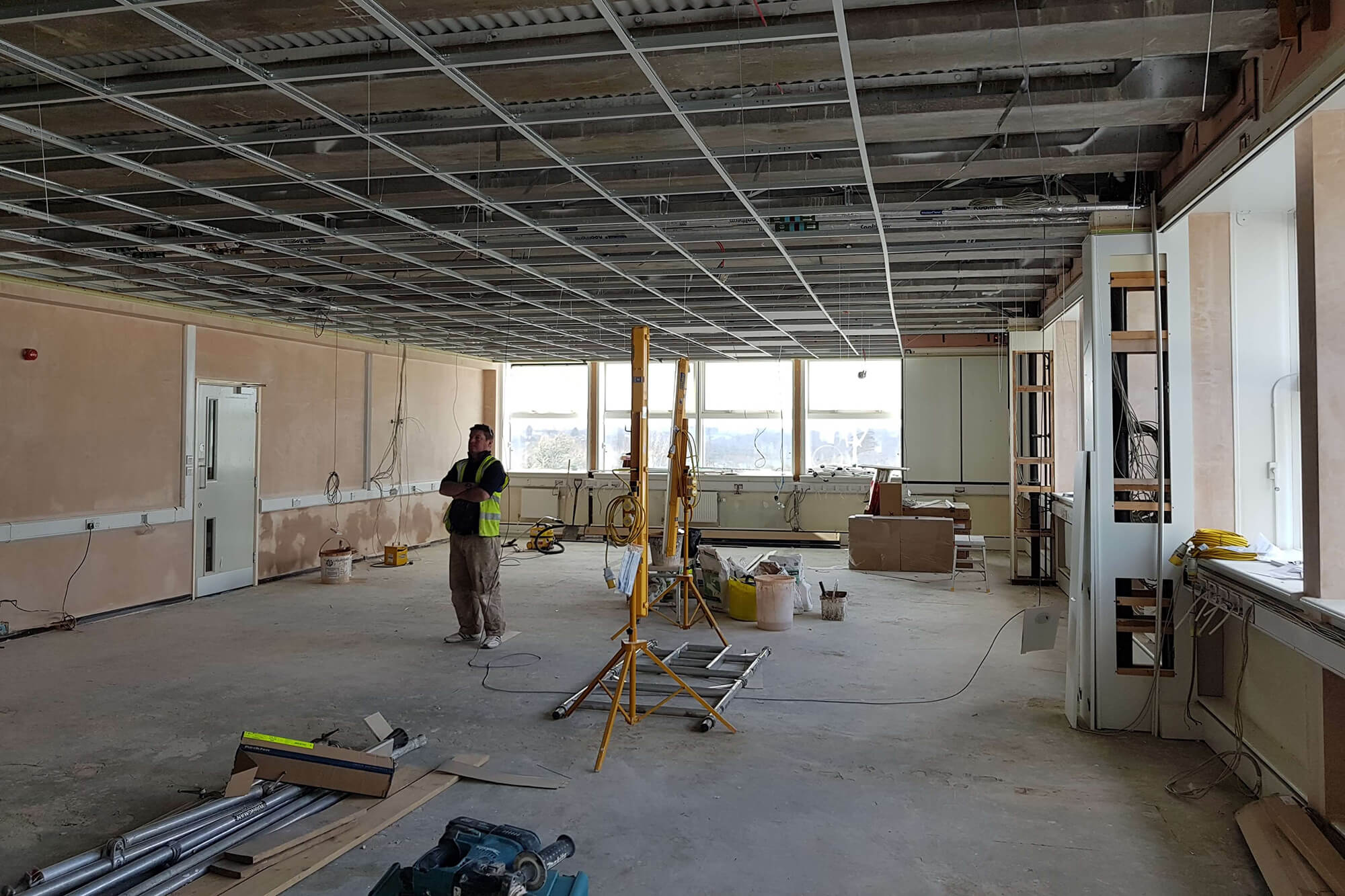 Improvement works to a room at the University before completion