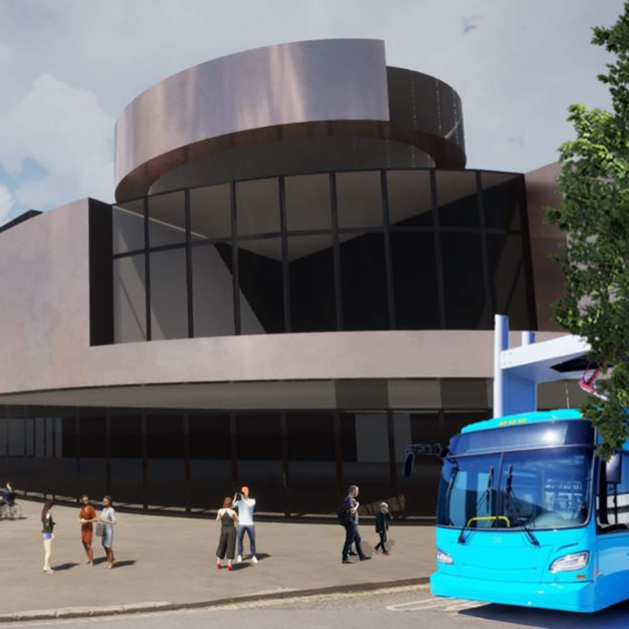 A modern city building with a bronze dome at the top with a bus driving past outside and people on the pavement outside of the building