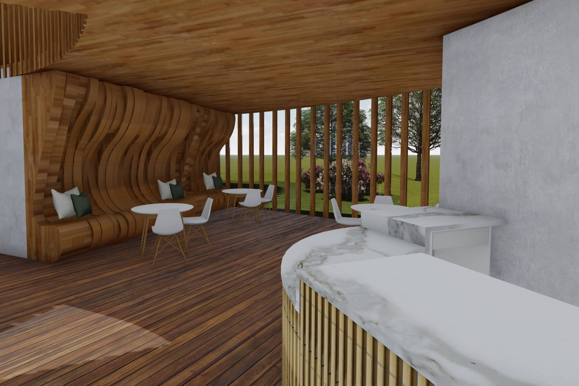Virtual design of a seating are in the 100 Queen's Gate Hotel London, Curio Collection by Hilton