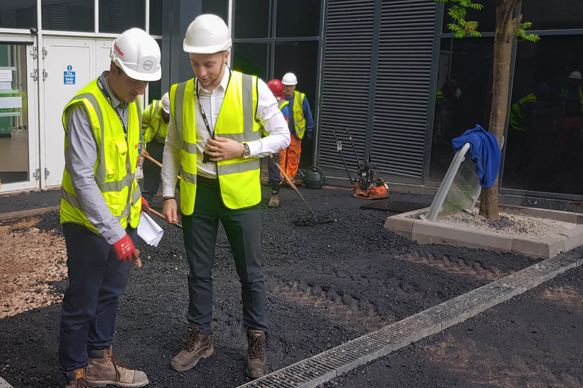 Ryan Wheeler on site with contractors