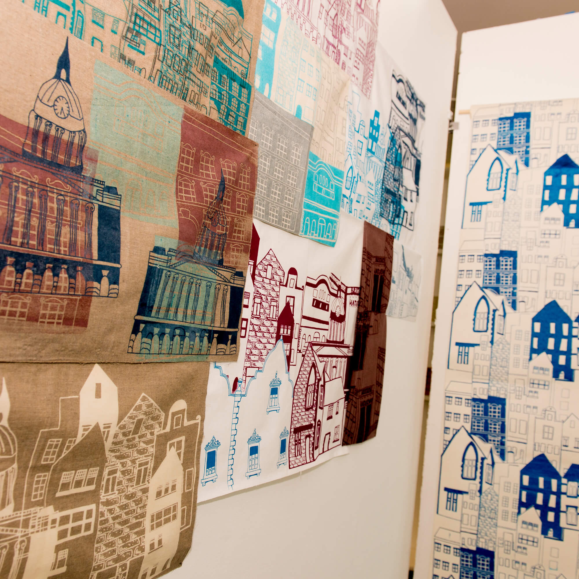 Illustrations and printed textiles of residential buildings