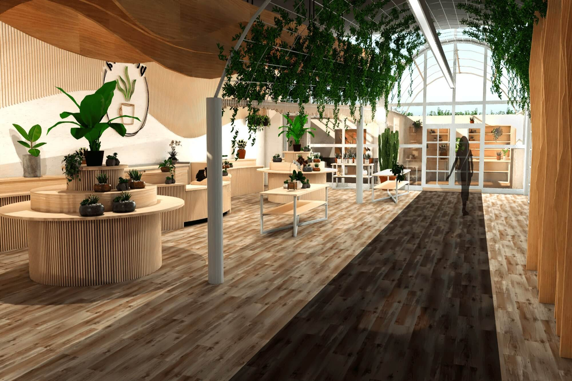 Digital illustration of a light and modern cafe with a wooden floor and lots of plants