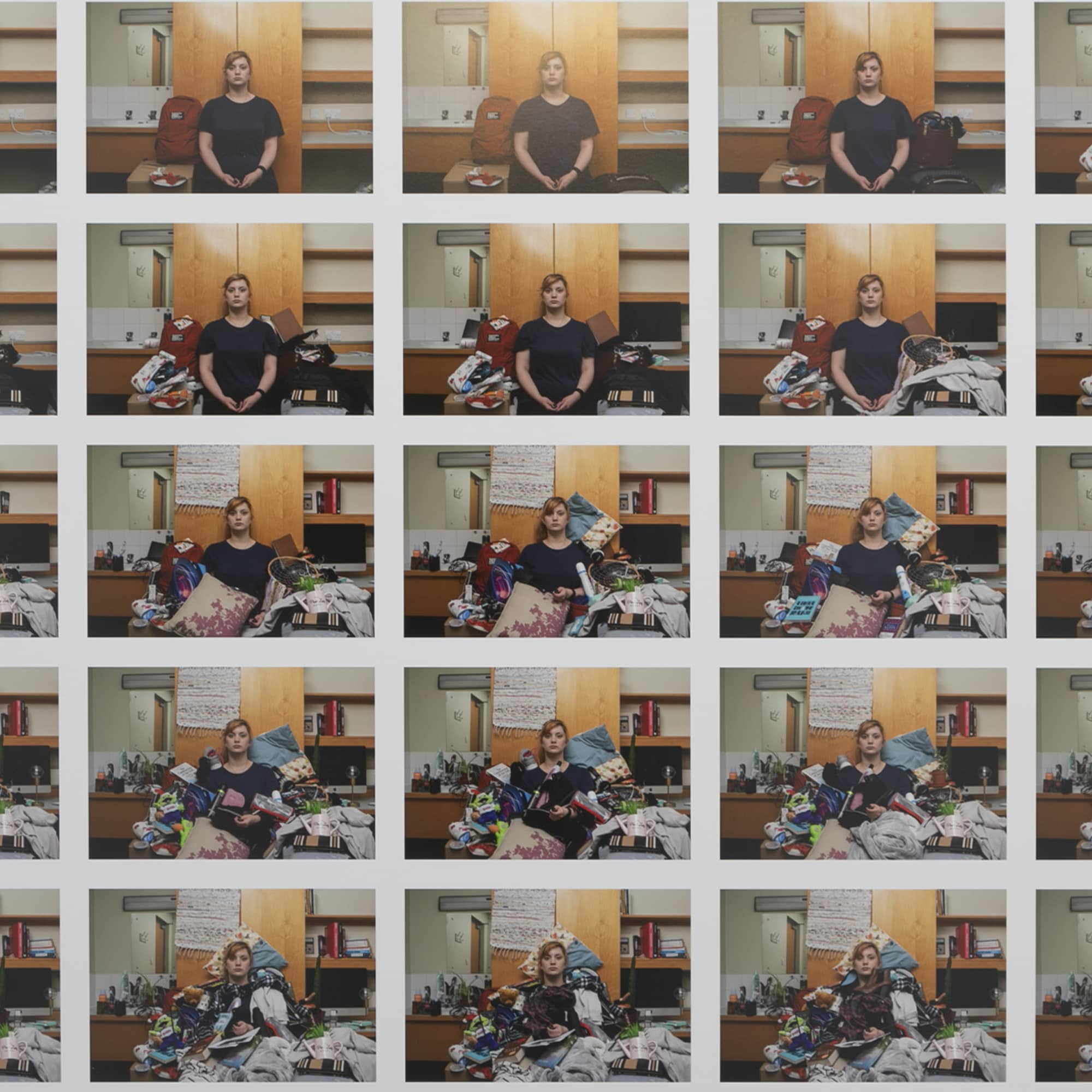 Multiple images of a woman gradually being covered up by her own personal possessions