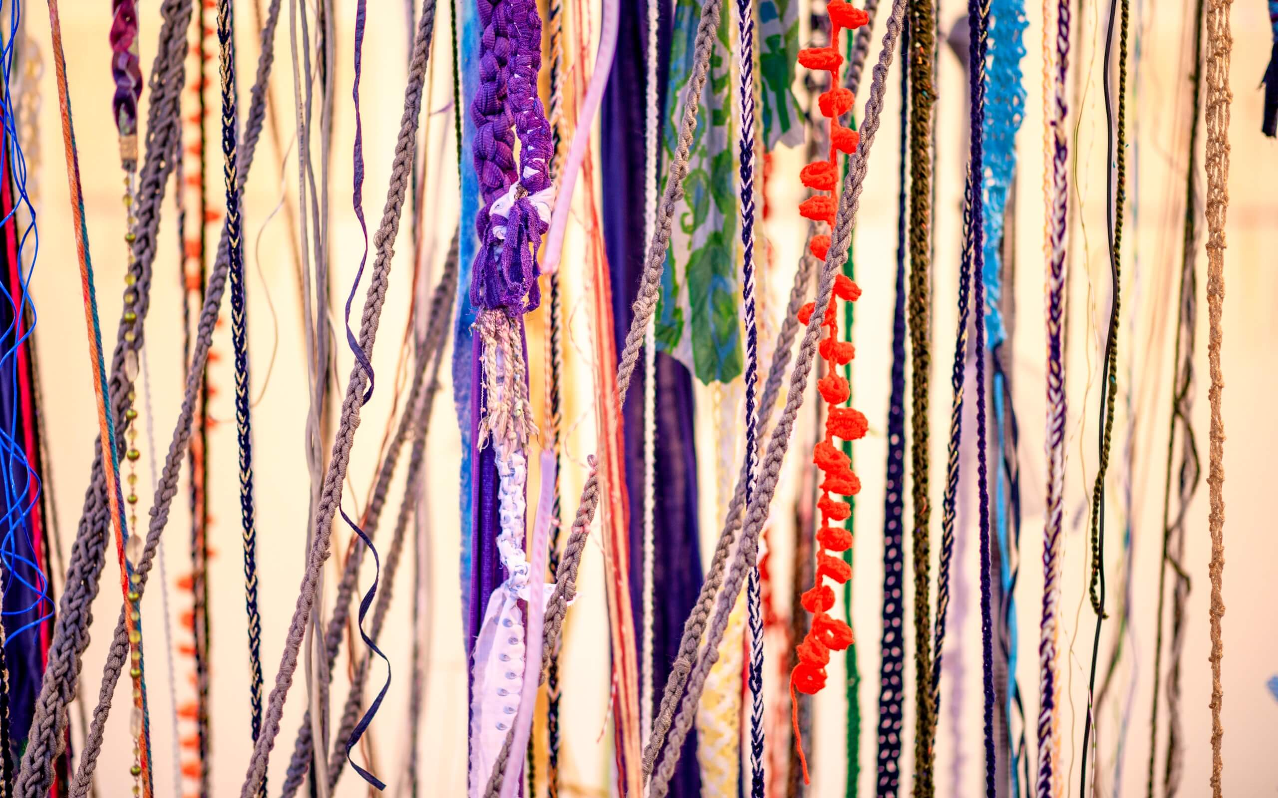 A close up photo of brightly coloured strands of material of different thicknesses