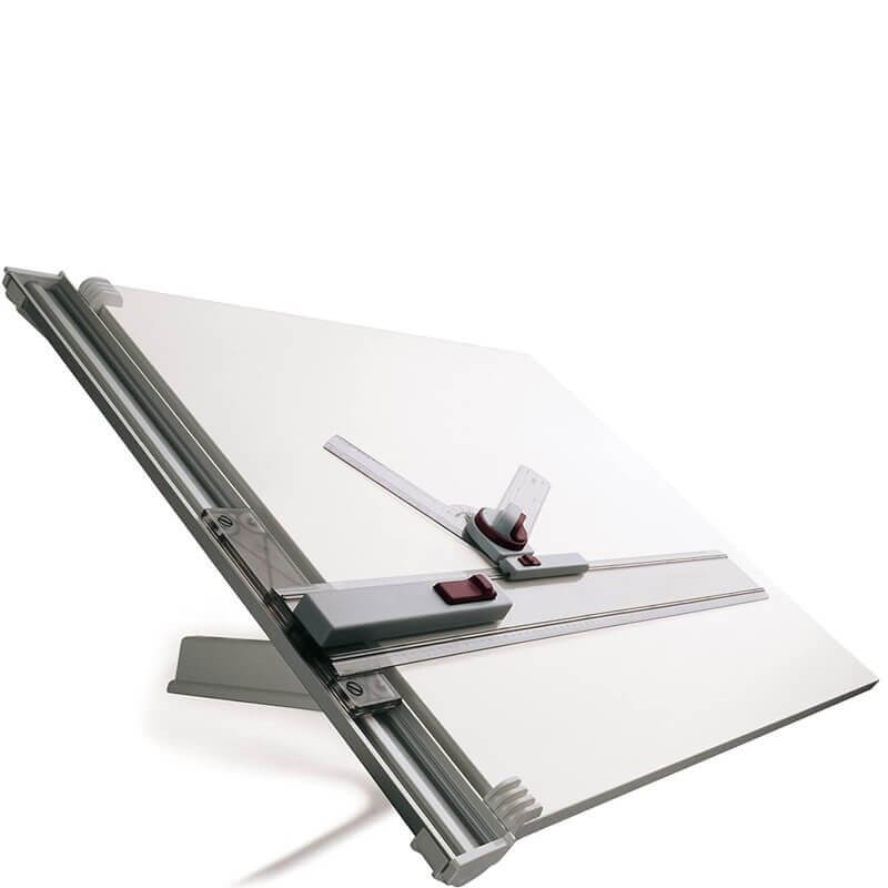 Drawing board featuring attached, adjustable ruler