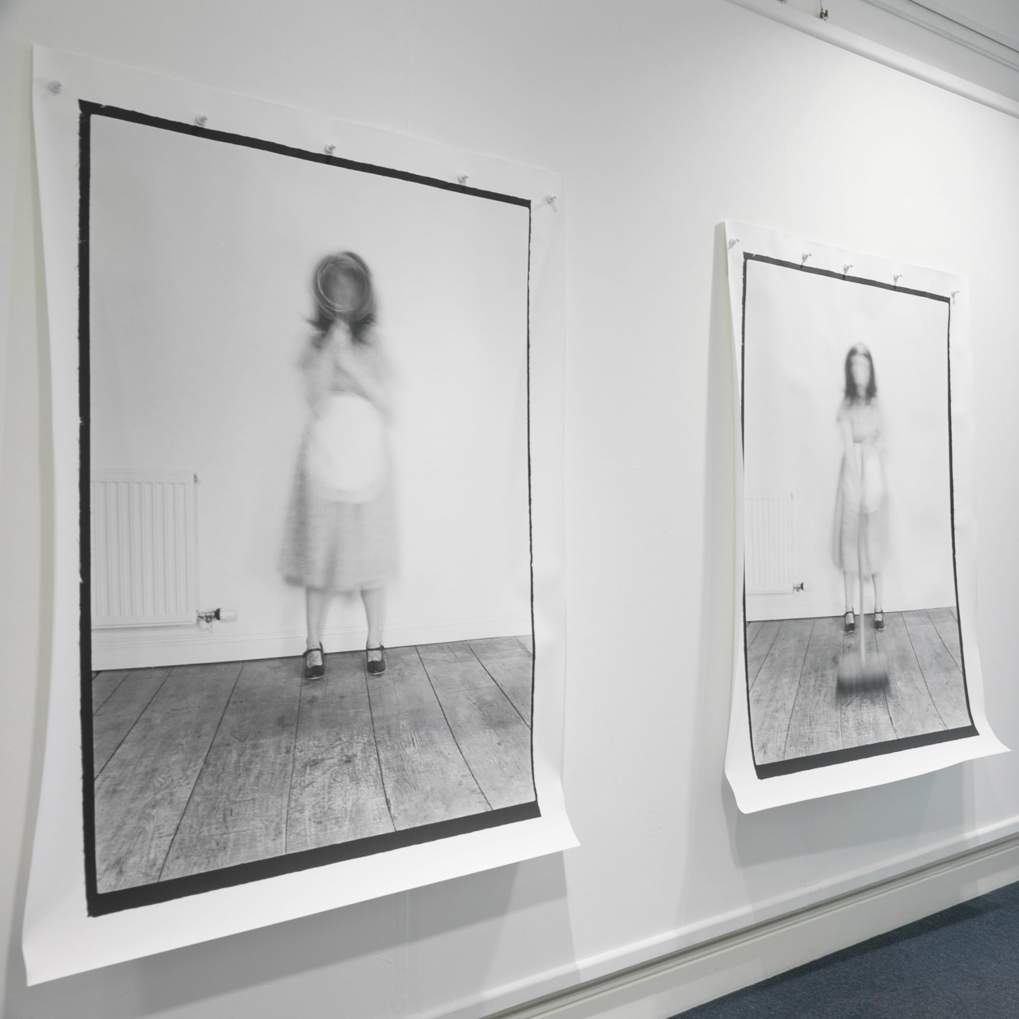 Two black and white blurred photos of a woman with items to carry out housework
