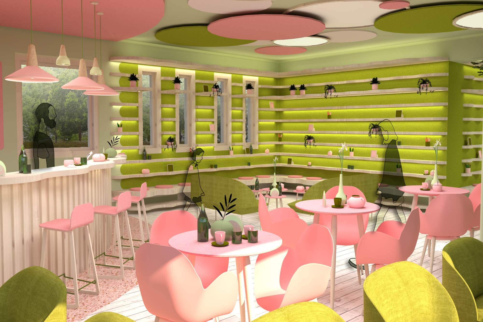 Digital illustration of a modern pink and green cafe with table seating and a bar area