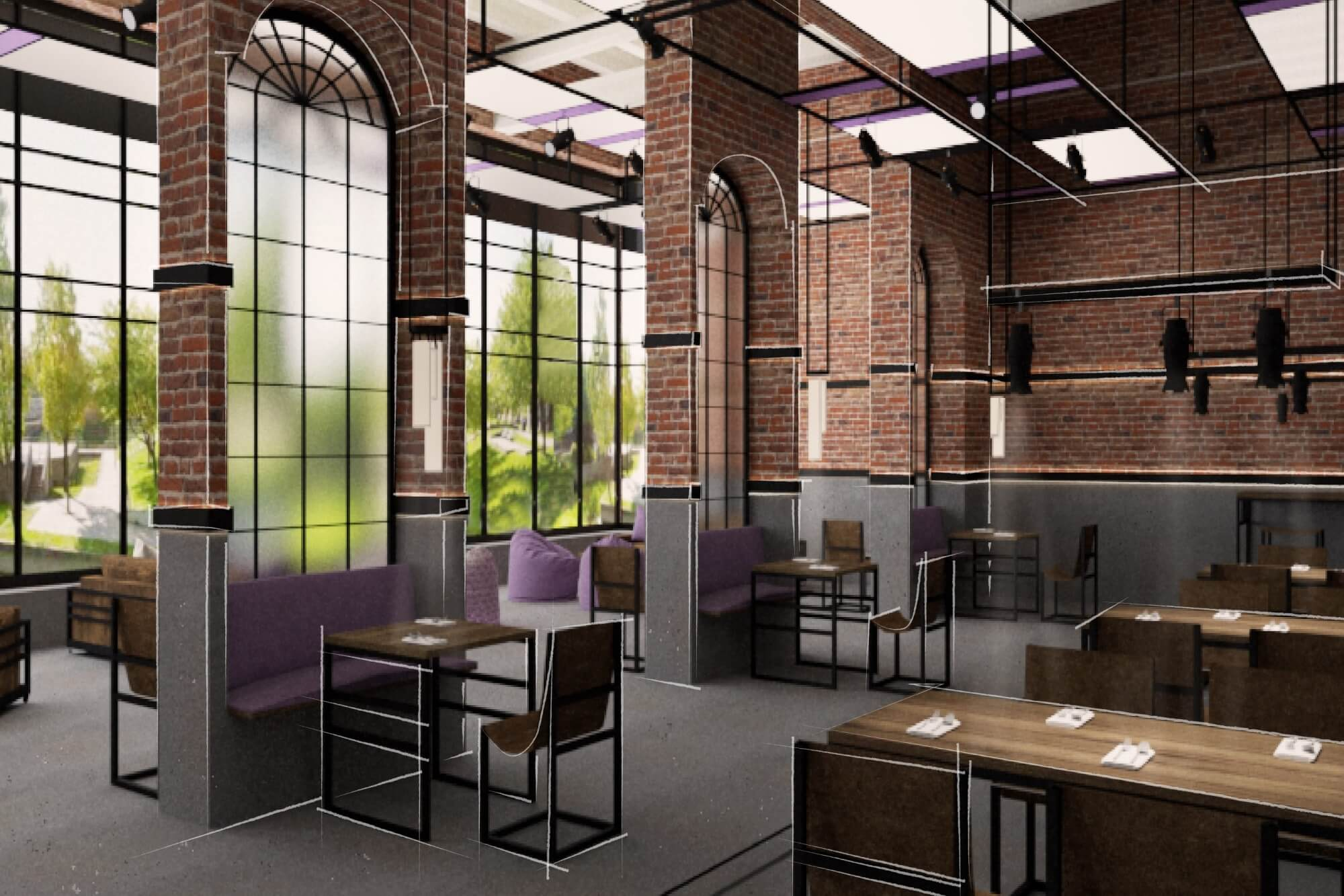 Digital illustration of a converted brick industrial building for use as a restaurant