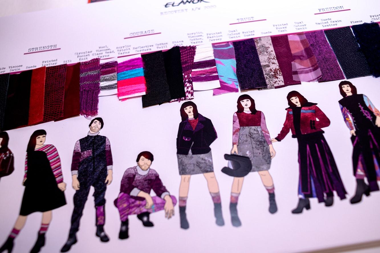A fashion portfolio of menswear and womenswear in berry colours