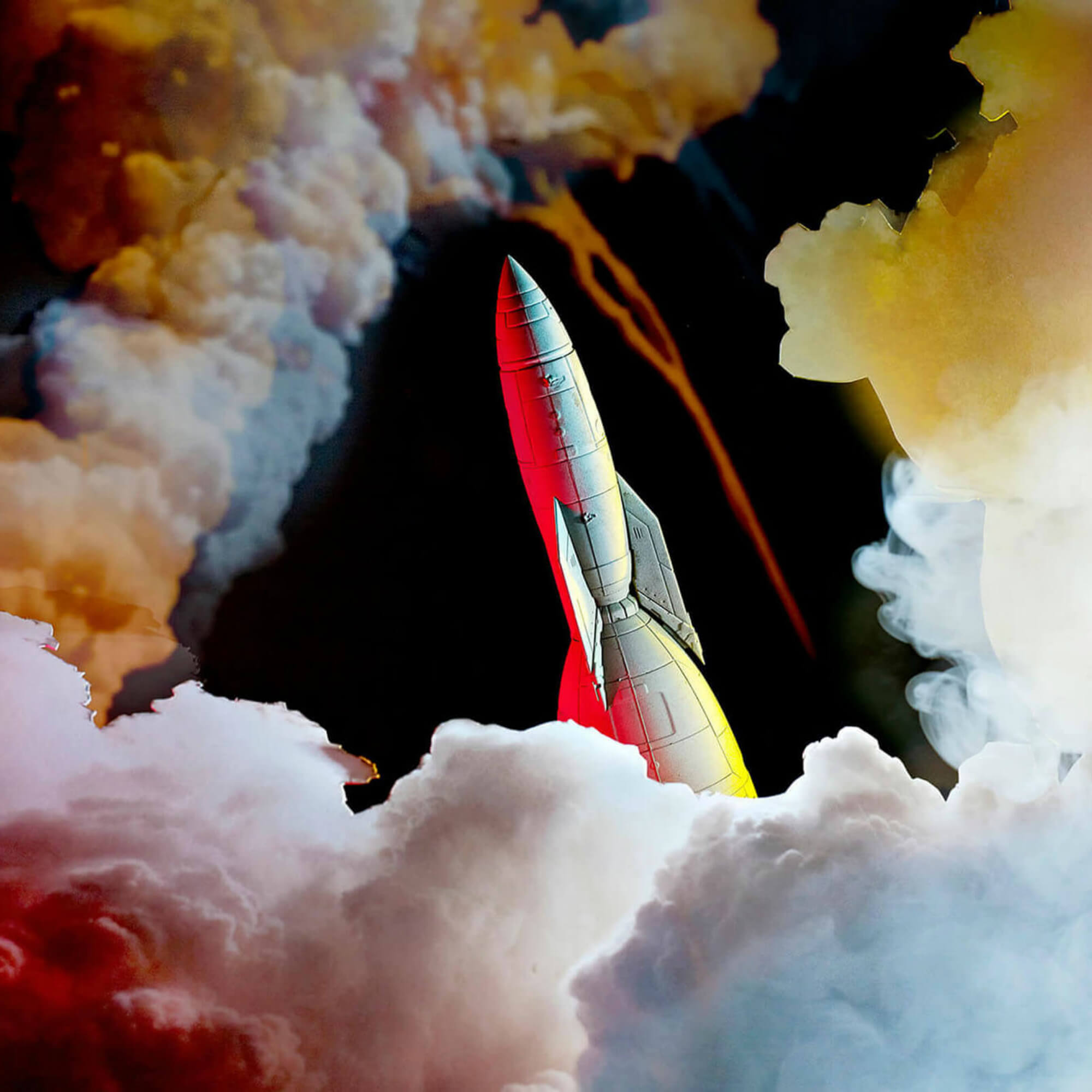 Photograph of a model rocket launching from clouds