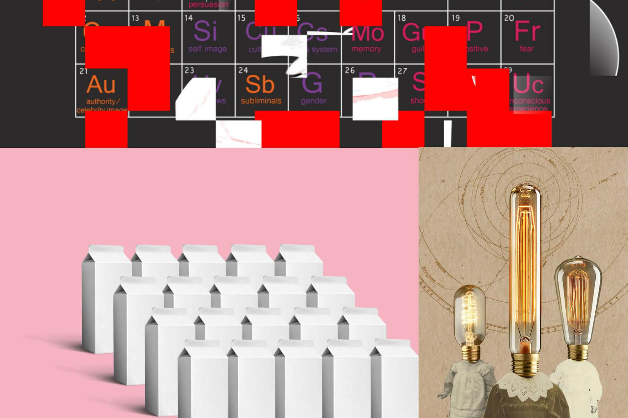 Computer illustrations of the periodic table, milk carton designs and an abstract lightbulb image