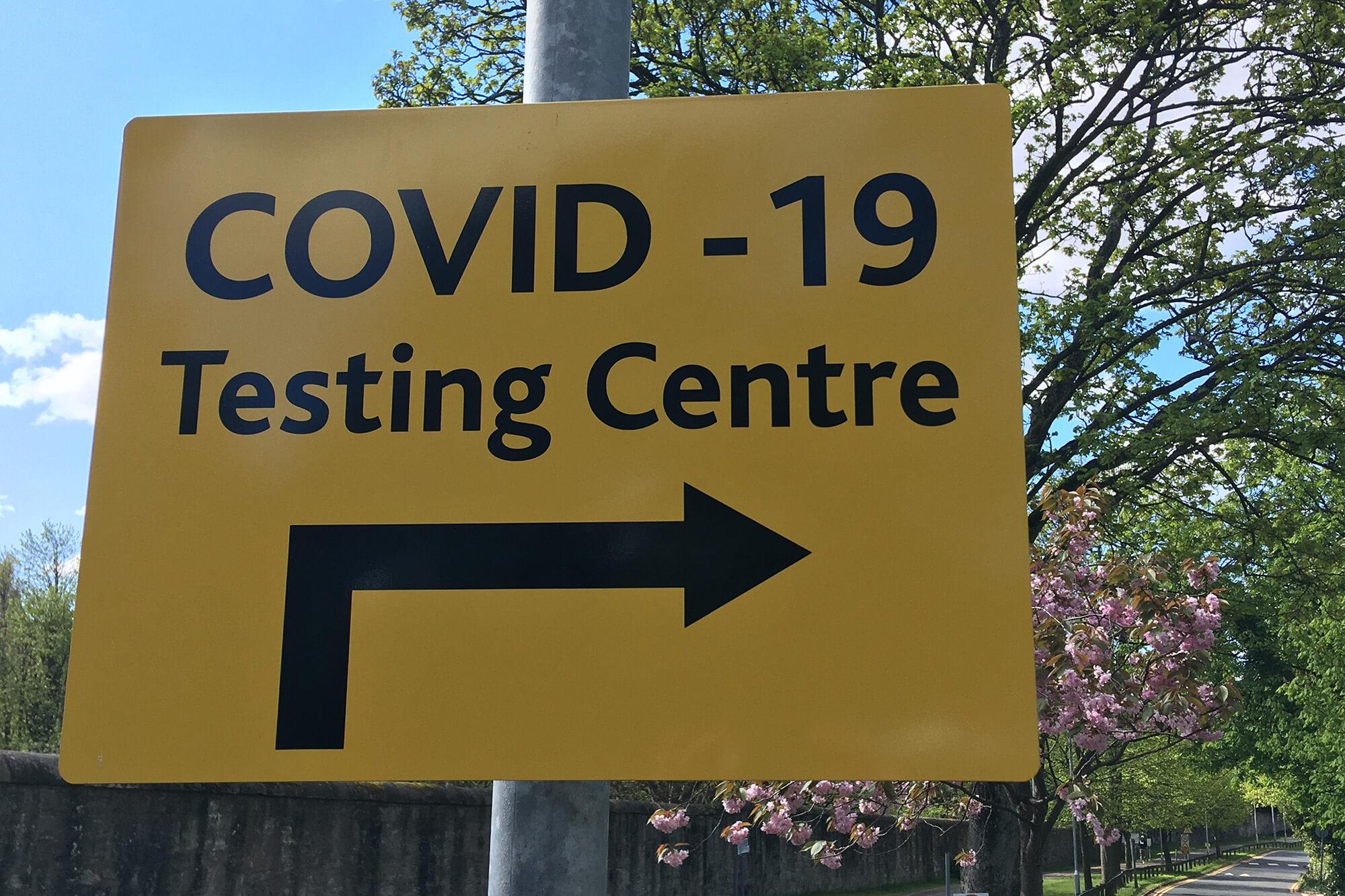 A covid testing centre sign.