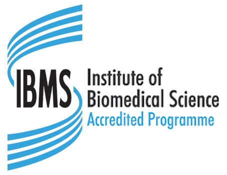IMBS icon with Institute of Biomedical Science Accredited Programme written next to it