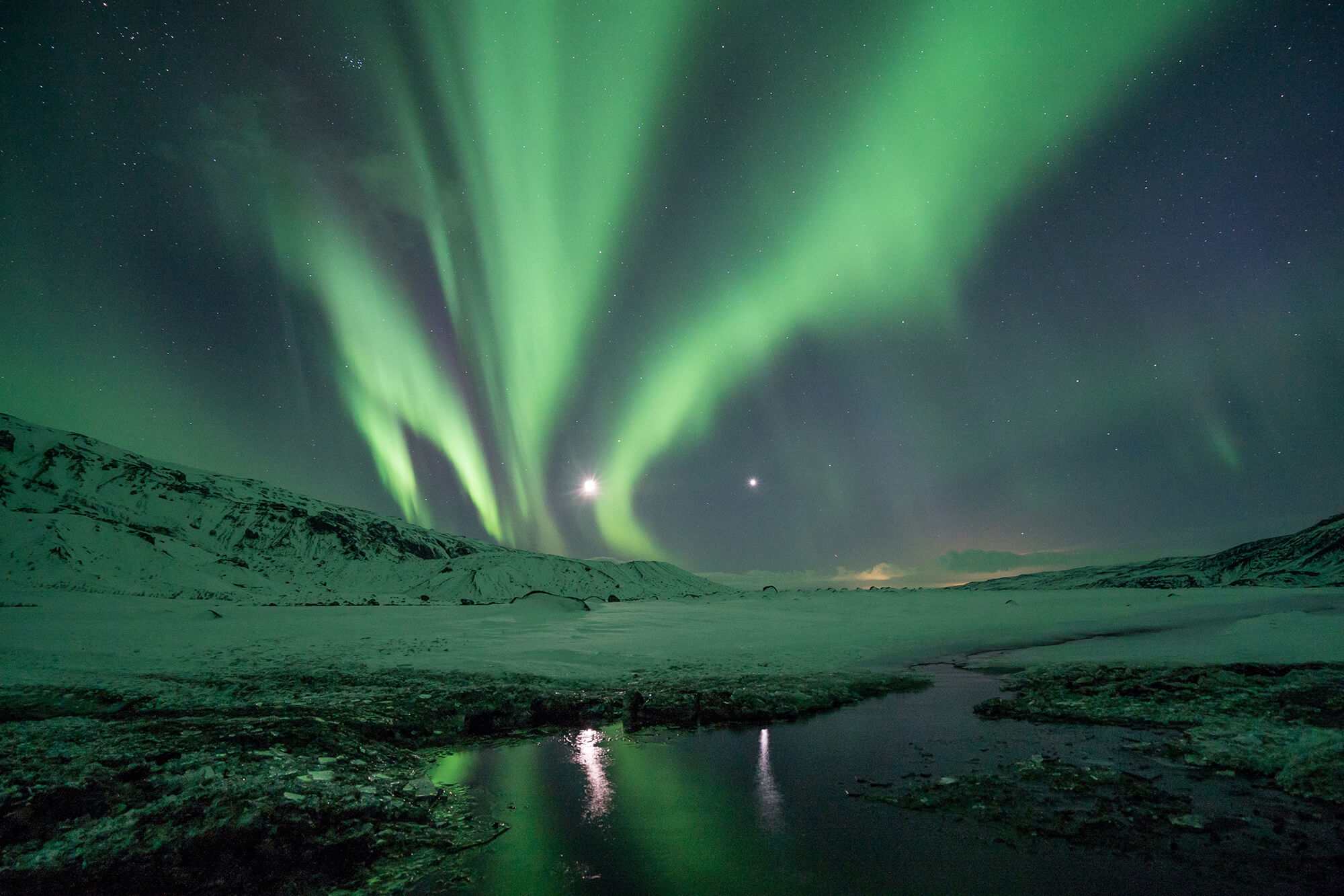 Northern lights over snowing ground