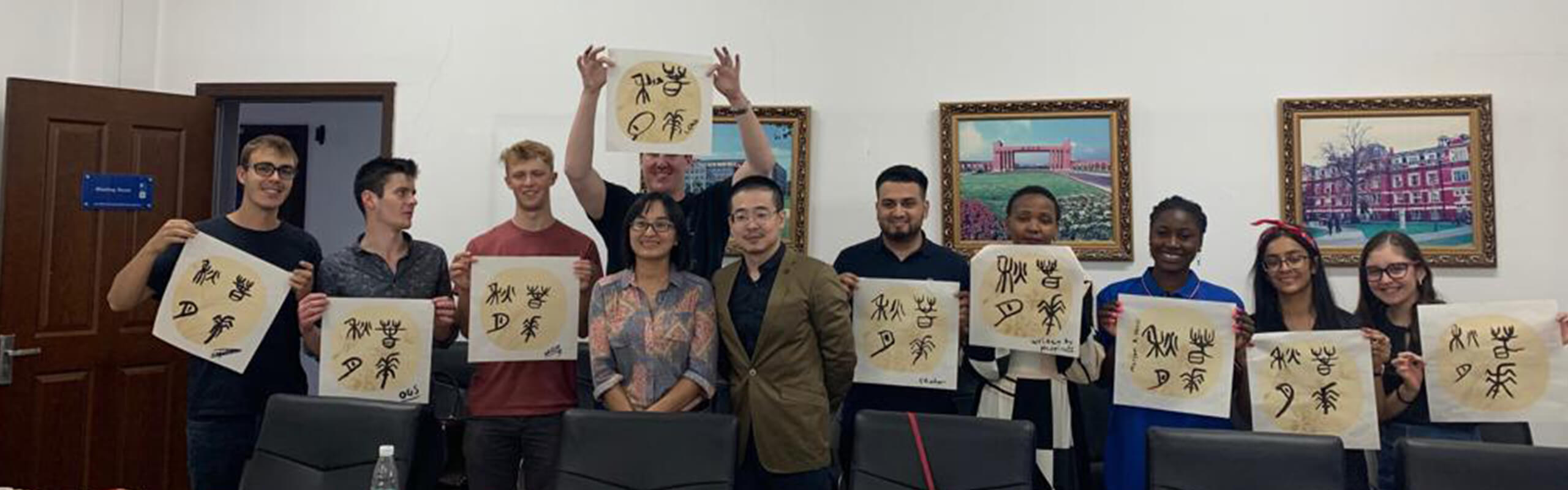 Students in calligraphy activity class