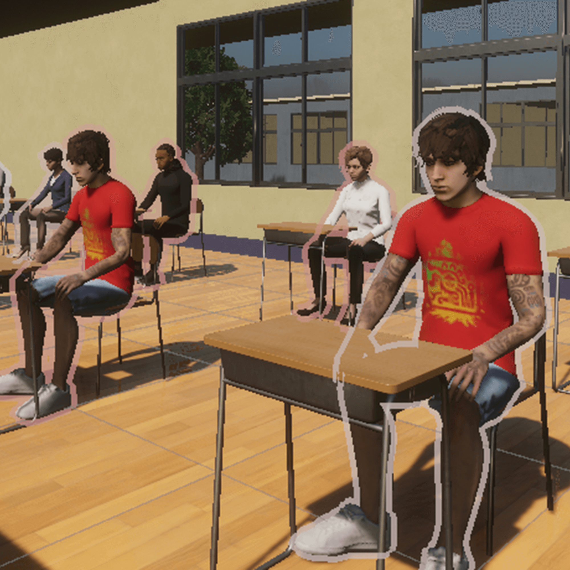 A computerised image of people sat at desks in a classroom