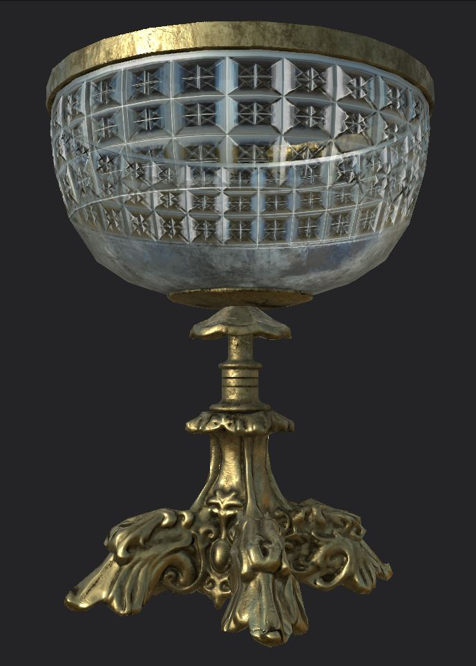 A computer game rendering of a glass chalice.