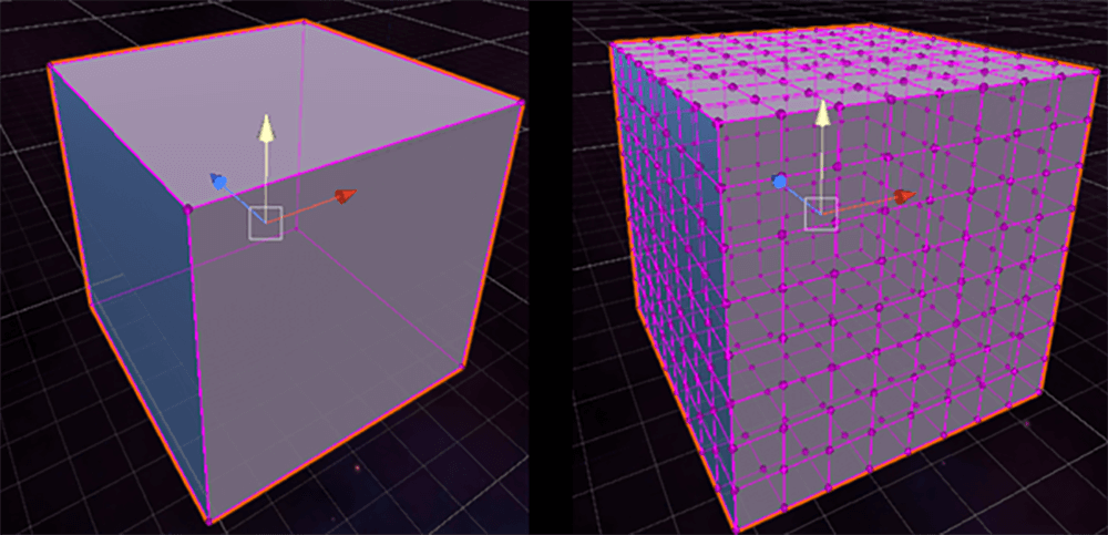 Two grey cubes sat in a graph background the left one is covered in a pink network grid