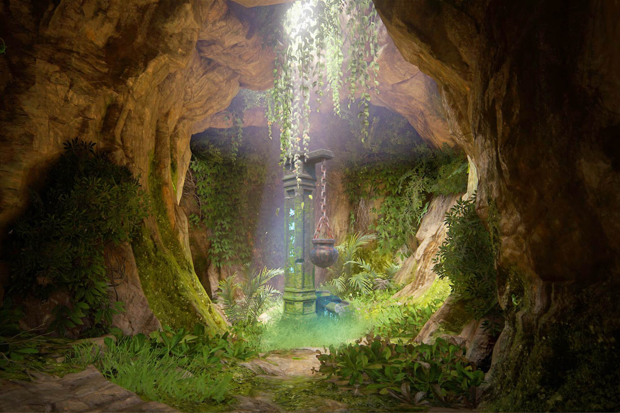 A computer rendered image of a cave with a pot hanging on a concrete pillar