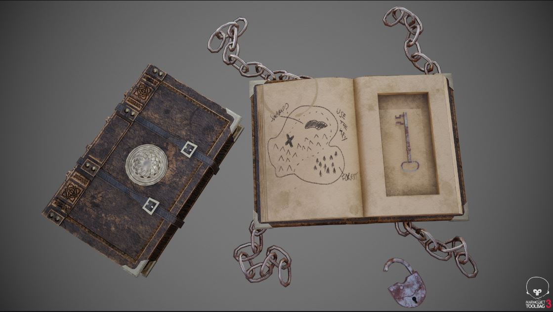 A computer rendered image of a closed leather bound book and an open book with chains on all corners and a key in the middle page with a map on the opposite page