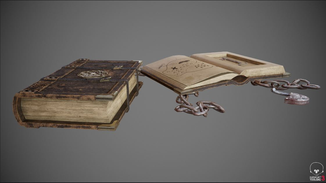 A computer rendering of an old book.