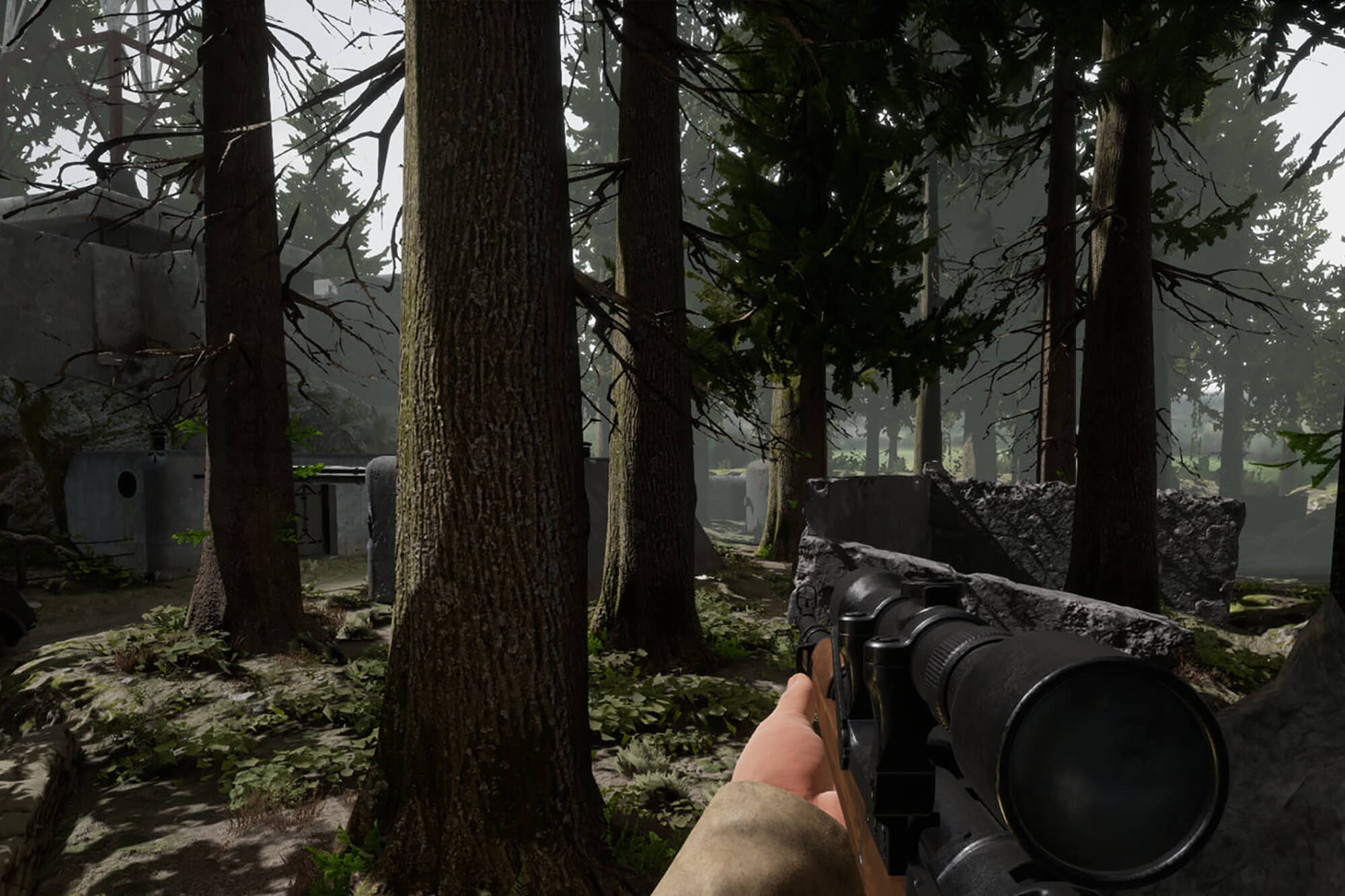 A character in a forest in Bulkhead Interactive Battalion 1944 Xbox game