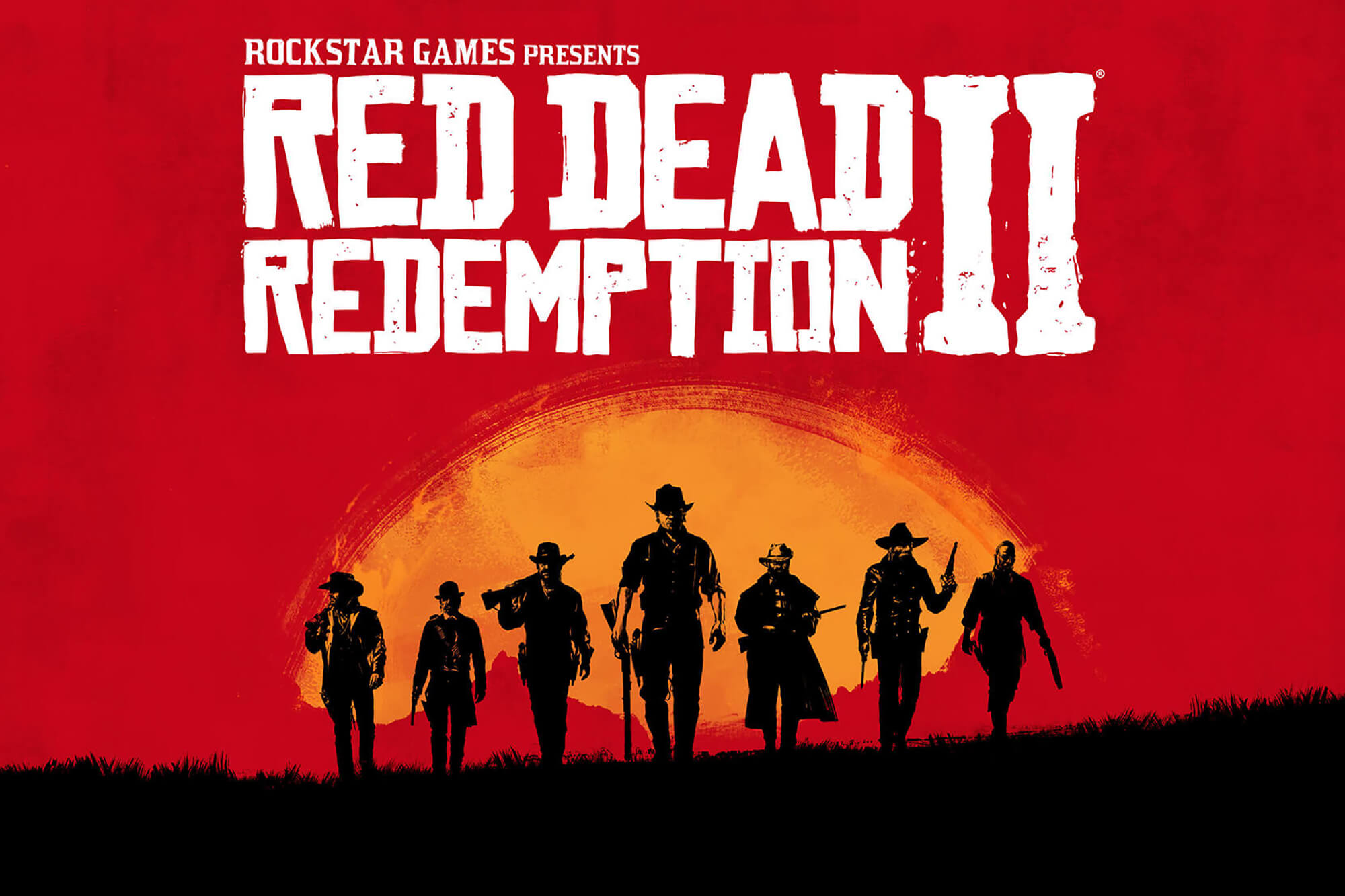 Red Dead Redemption 2. Seven cowboys walk forwards against a red and orange sunset background.