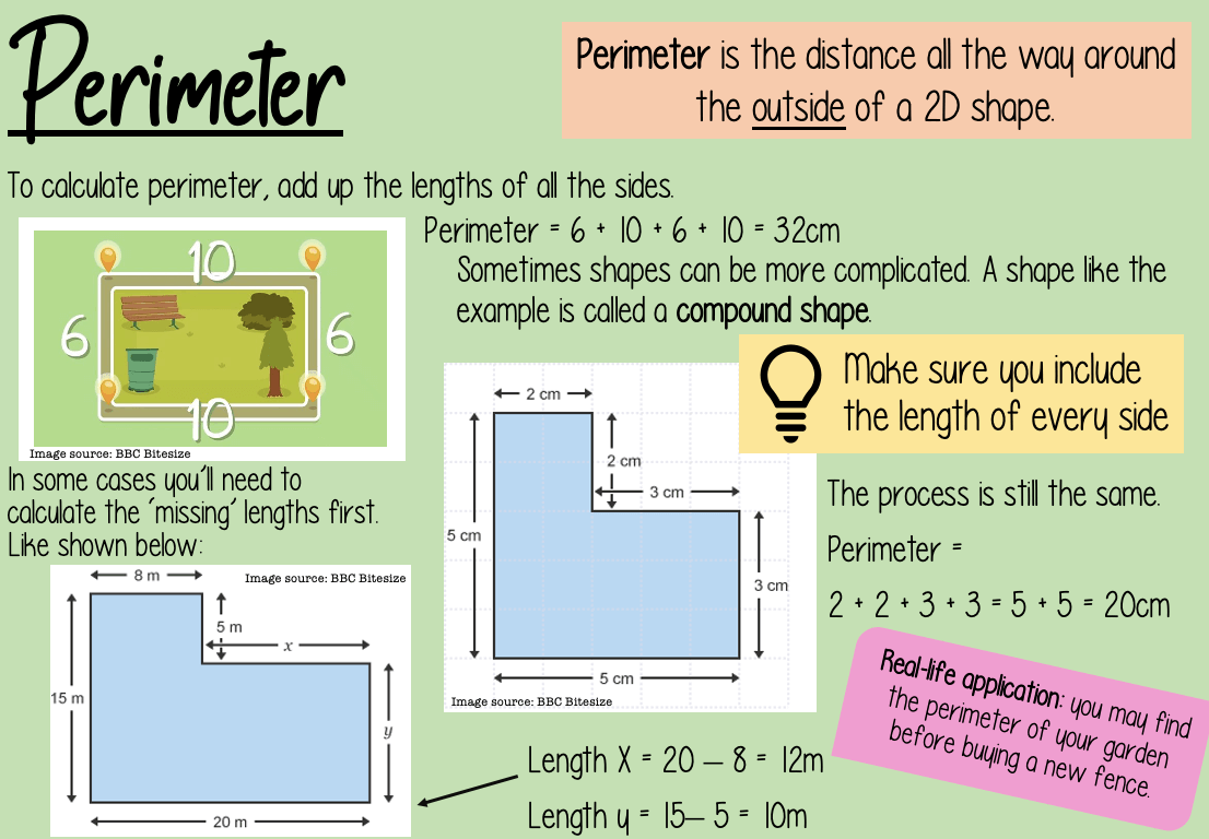 A learning worksheet created by a student about calculating perimeters