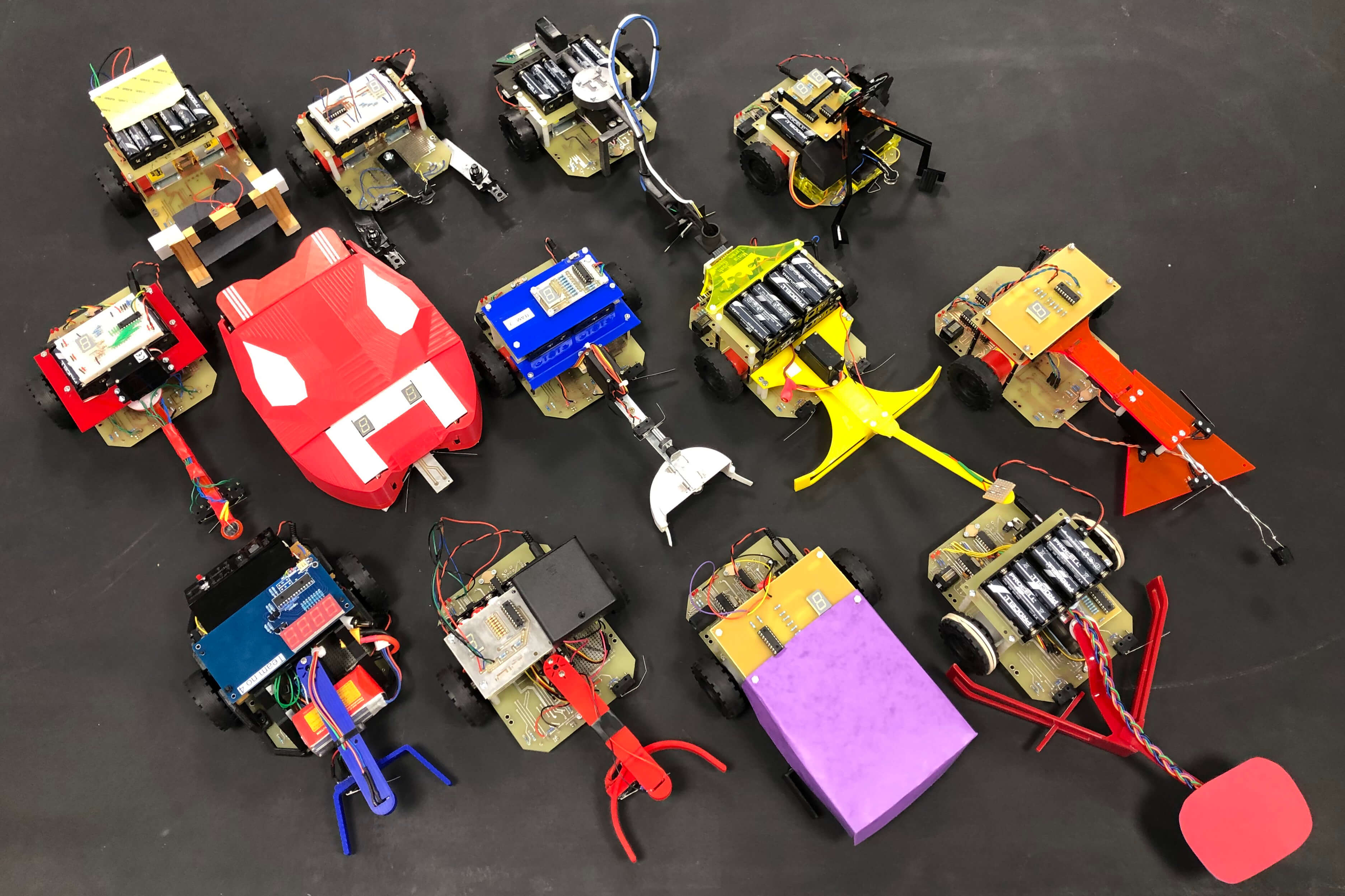Derbots (Derby Robots) that took part in the 2020 Derbot competition