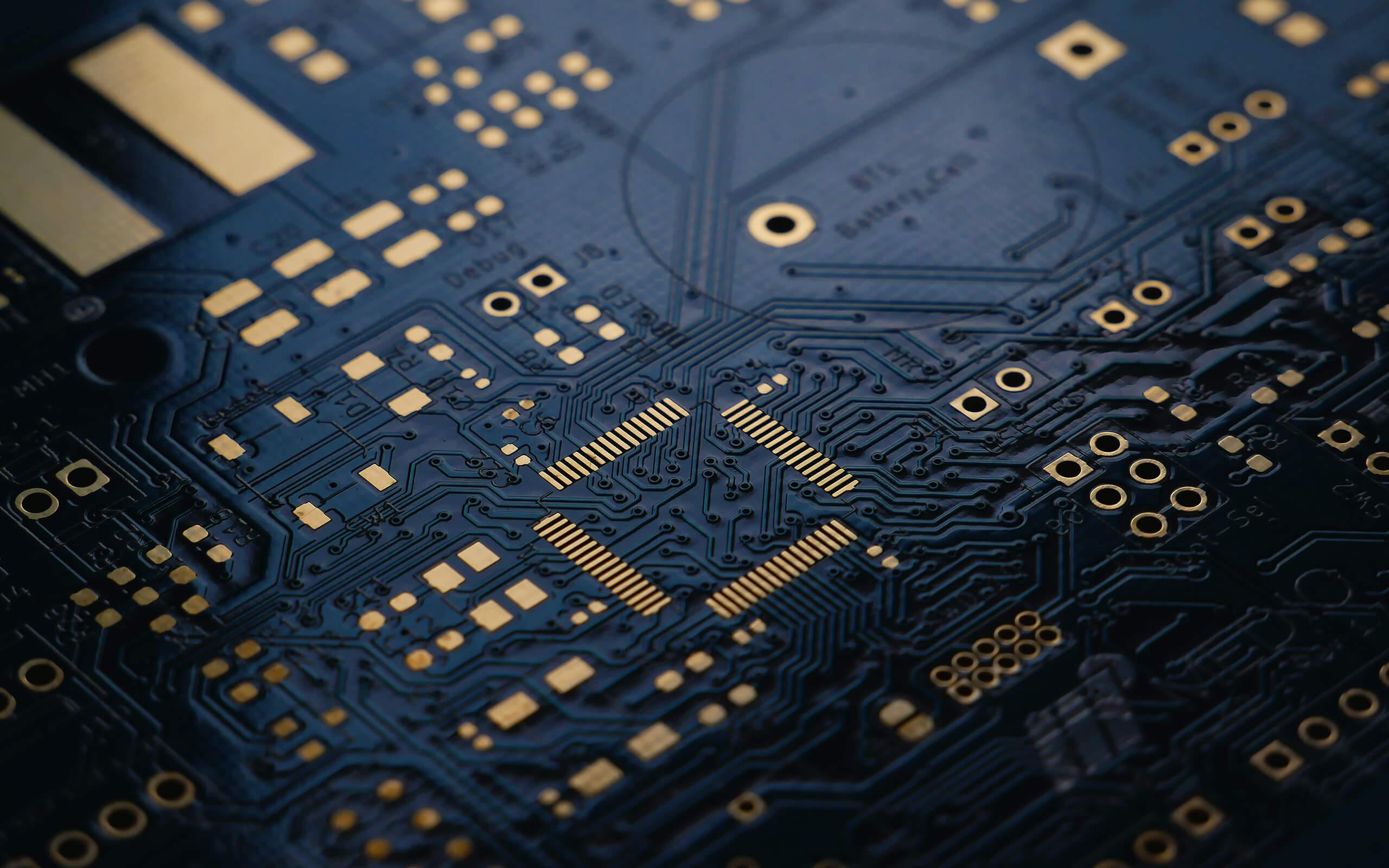Close up of a microchip board