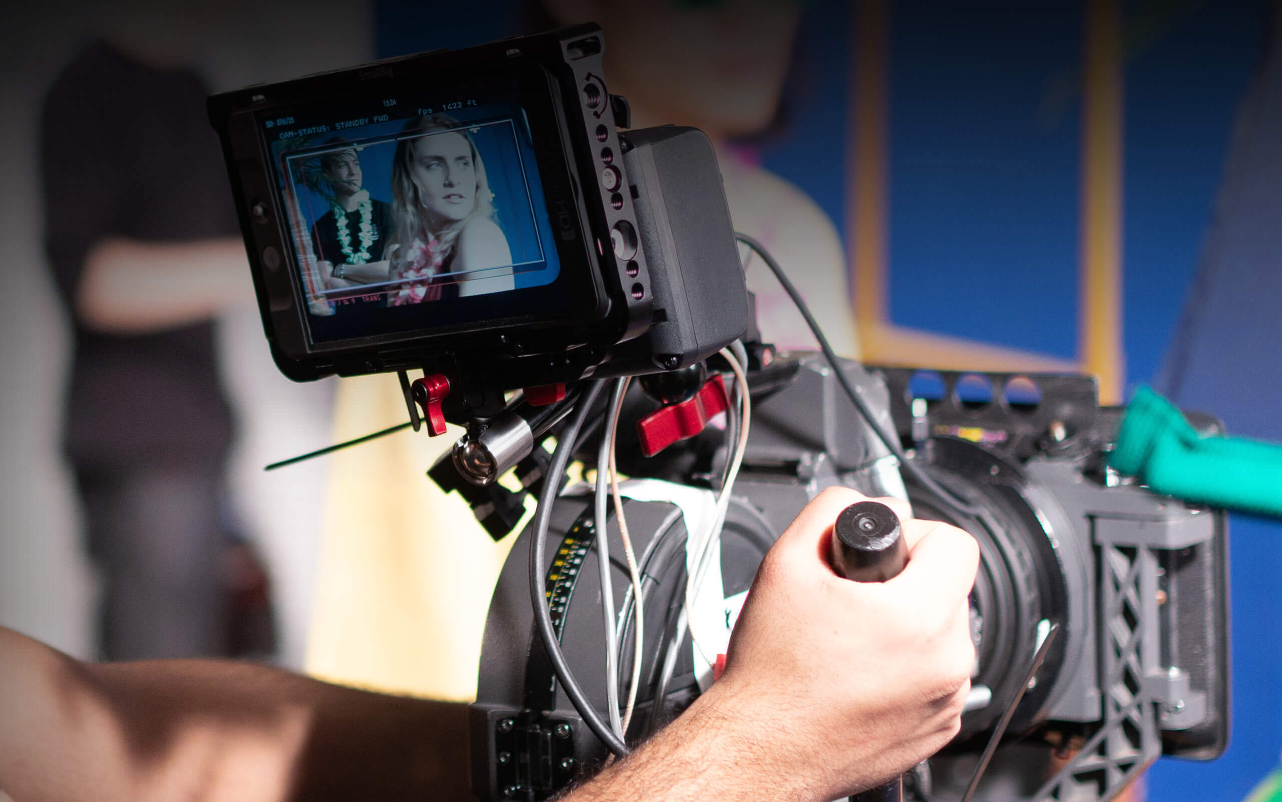 a camera on a filming shoot