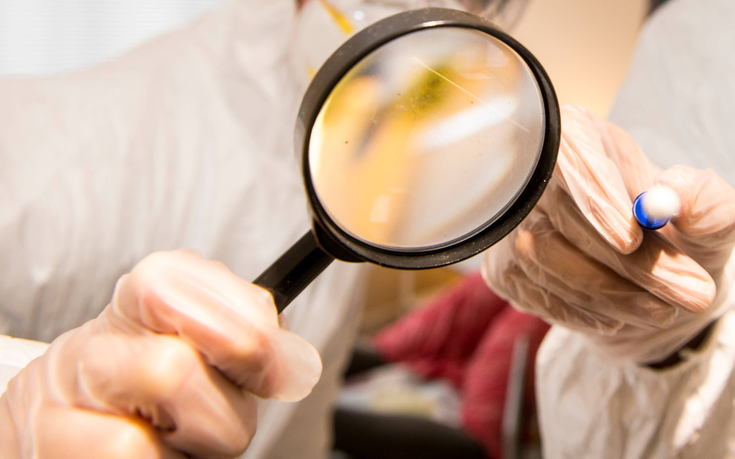 A forensic scientist using a magnifying glass
