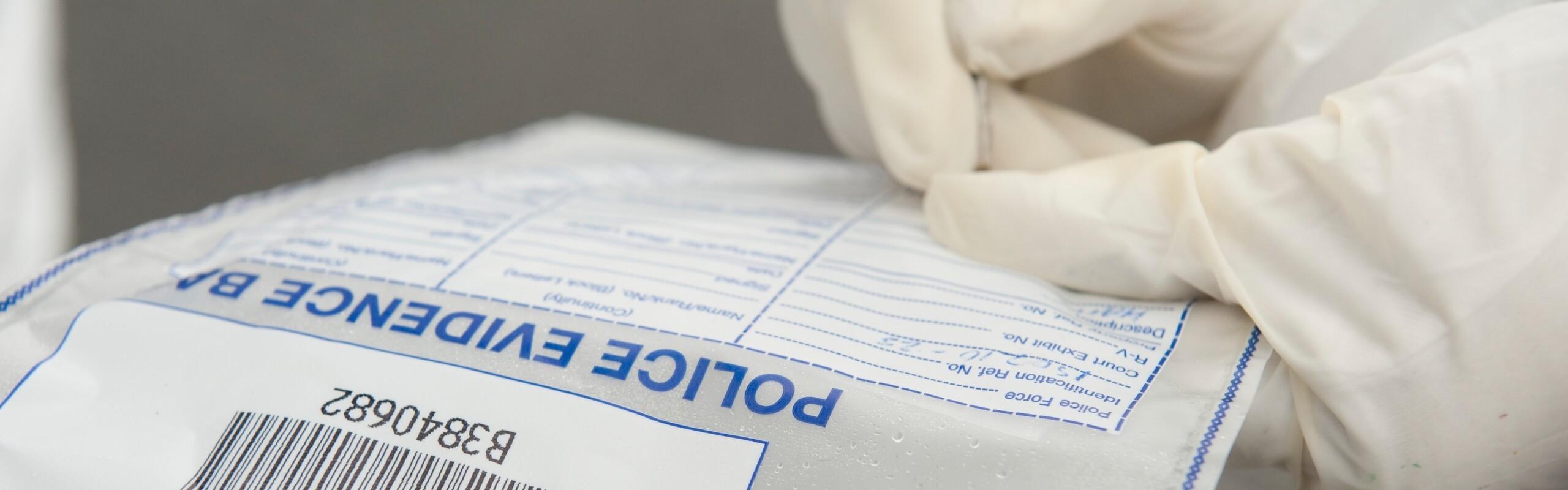 A police evidence bag