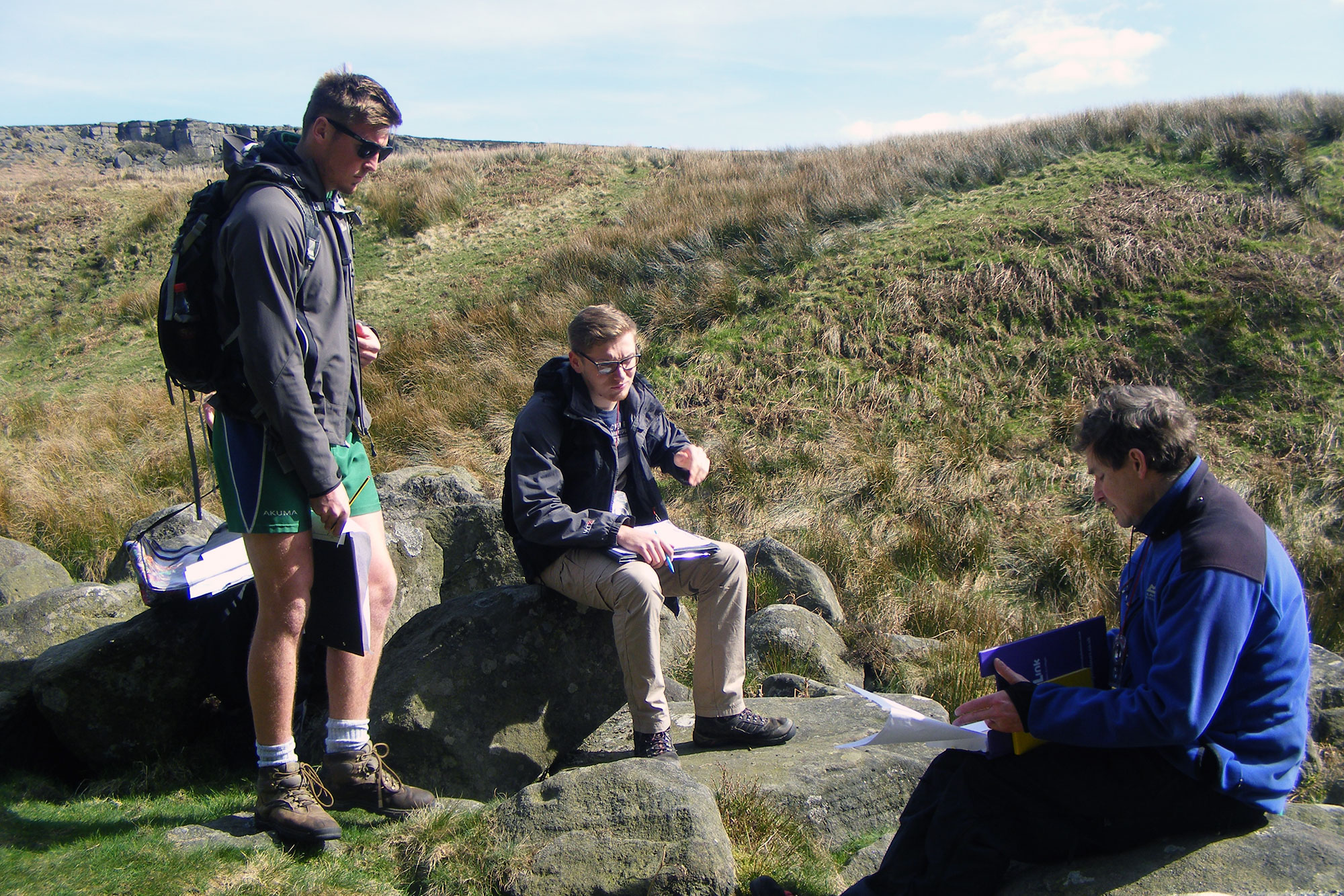 Students talking on fieldtrip to Burbage South