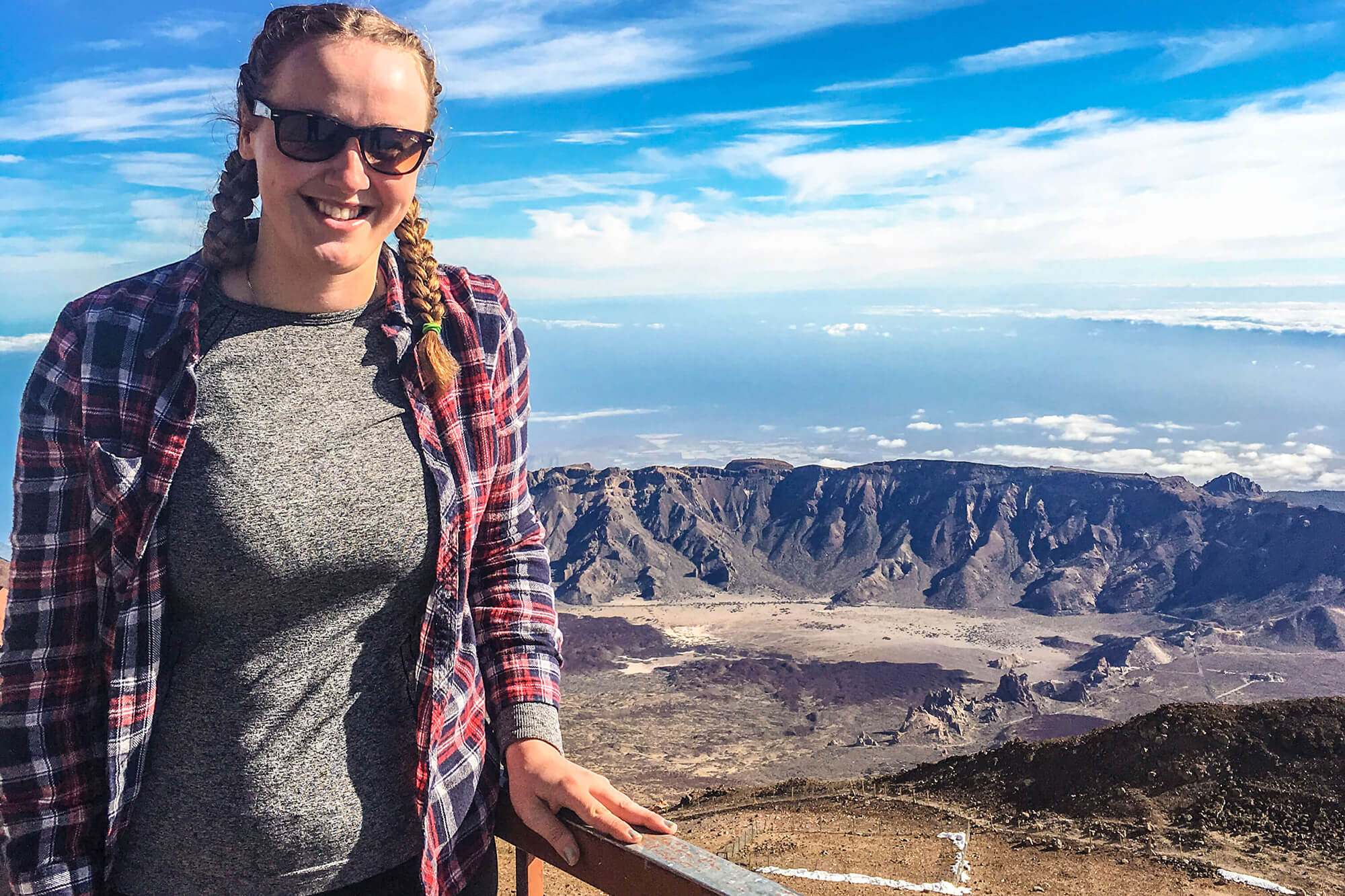 Rebecca Winstanley studying volcanoes in Tenerife