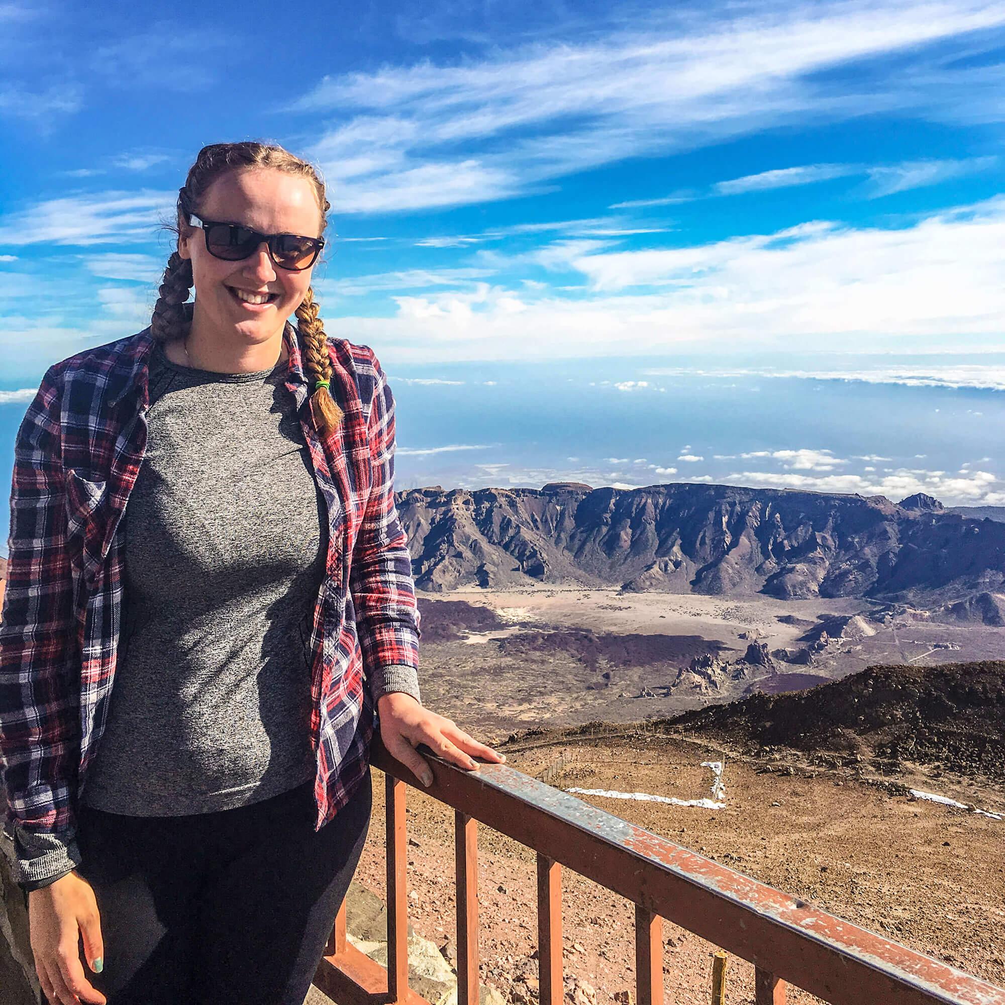 Rebecca Winstanley on Mount Teide