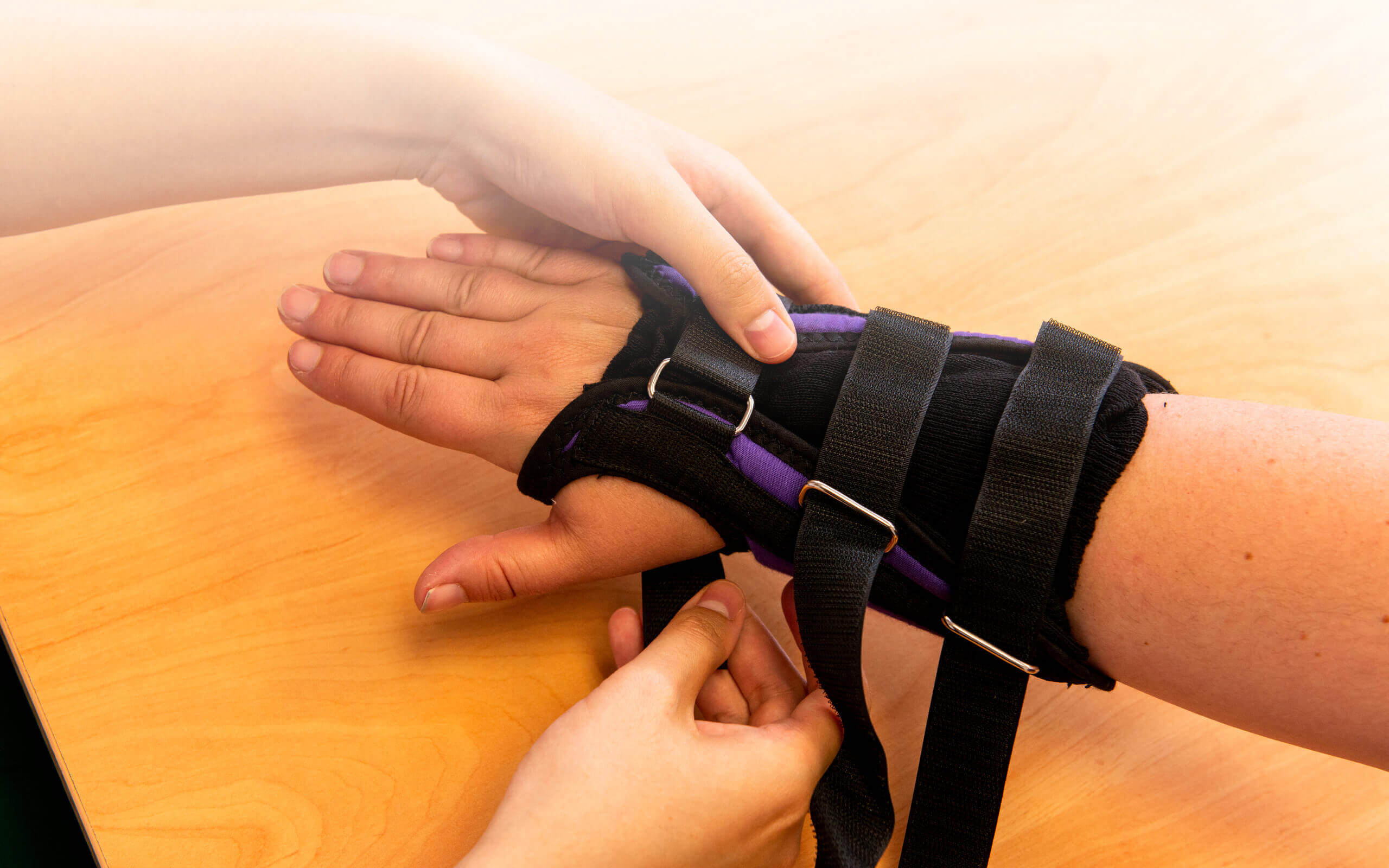 a patient has strapping put on their wrist