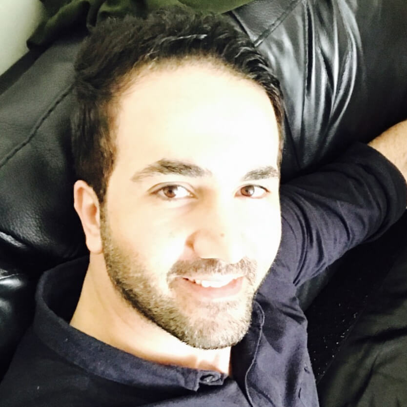 Salah Kassem, a third year student, smiling