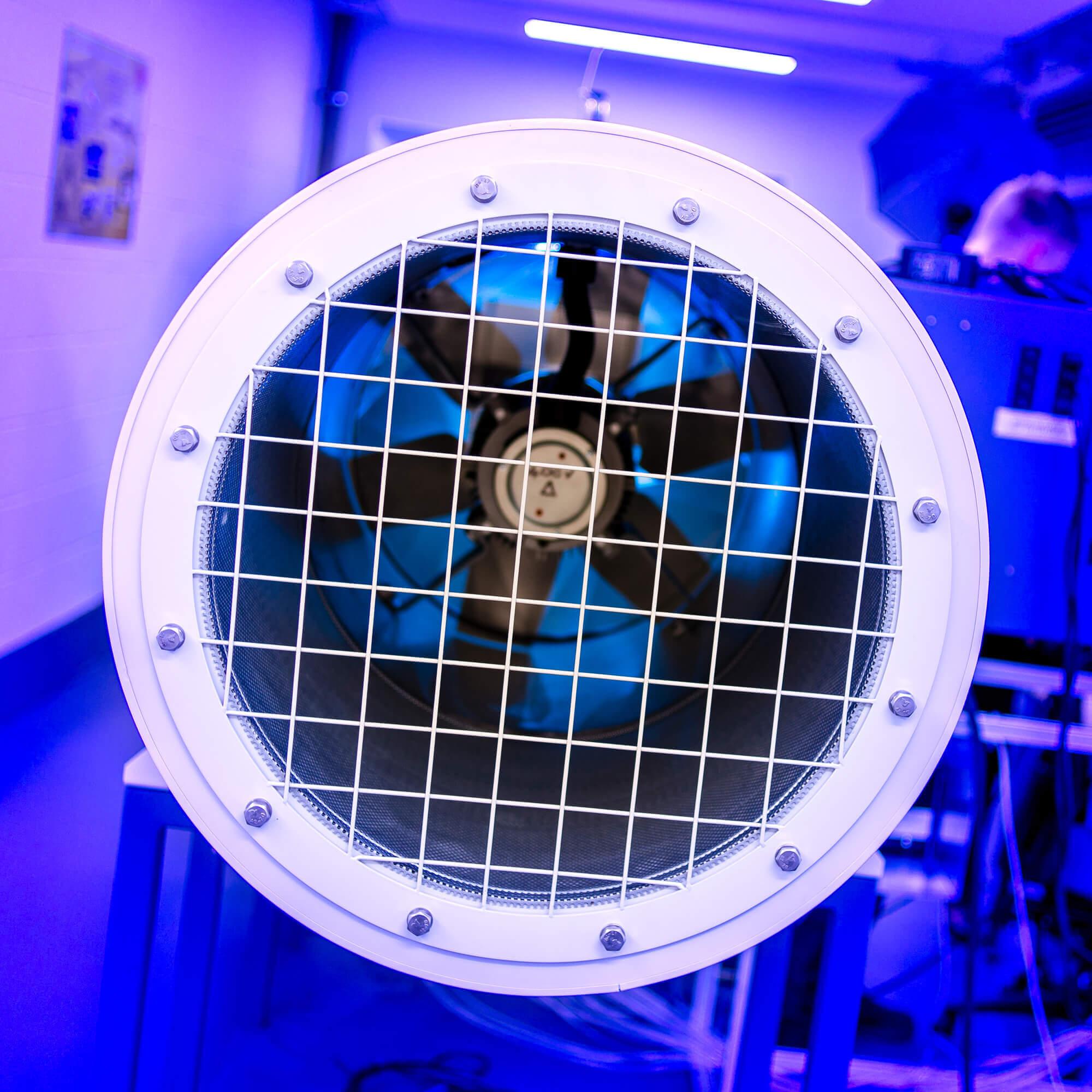 A wind fan in blue lighting