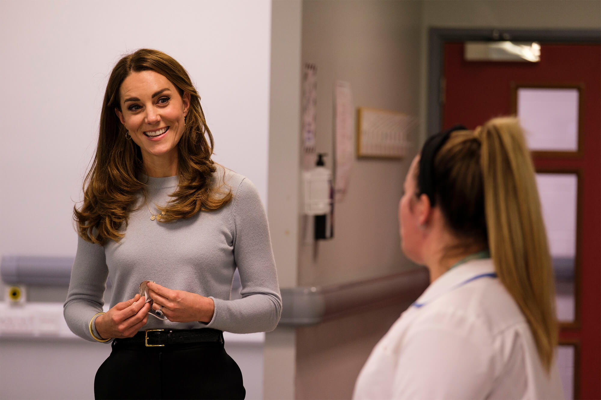 Duchess of Cambridge with nursing student at the University of Derby. Photography credit: Richard Richards