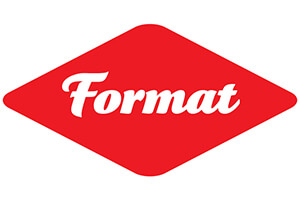 FORMAT logo on a red diamond shape