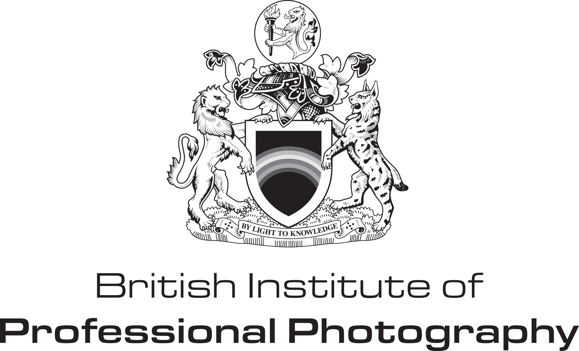 A black and white logo of the British Institute of Professional Photographers which features a lion and a leopard with a shield