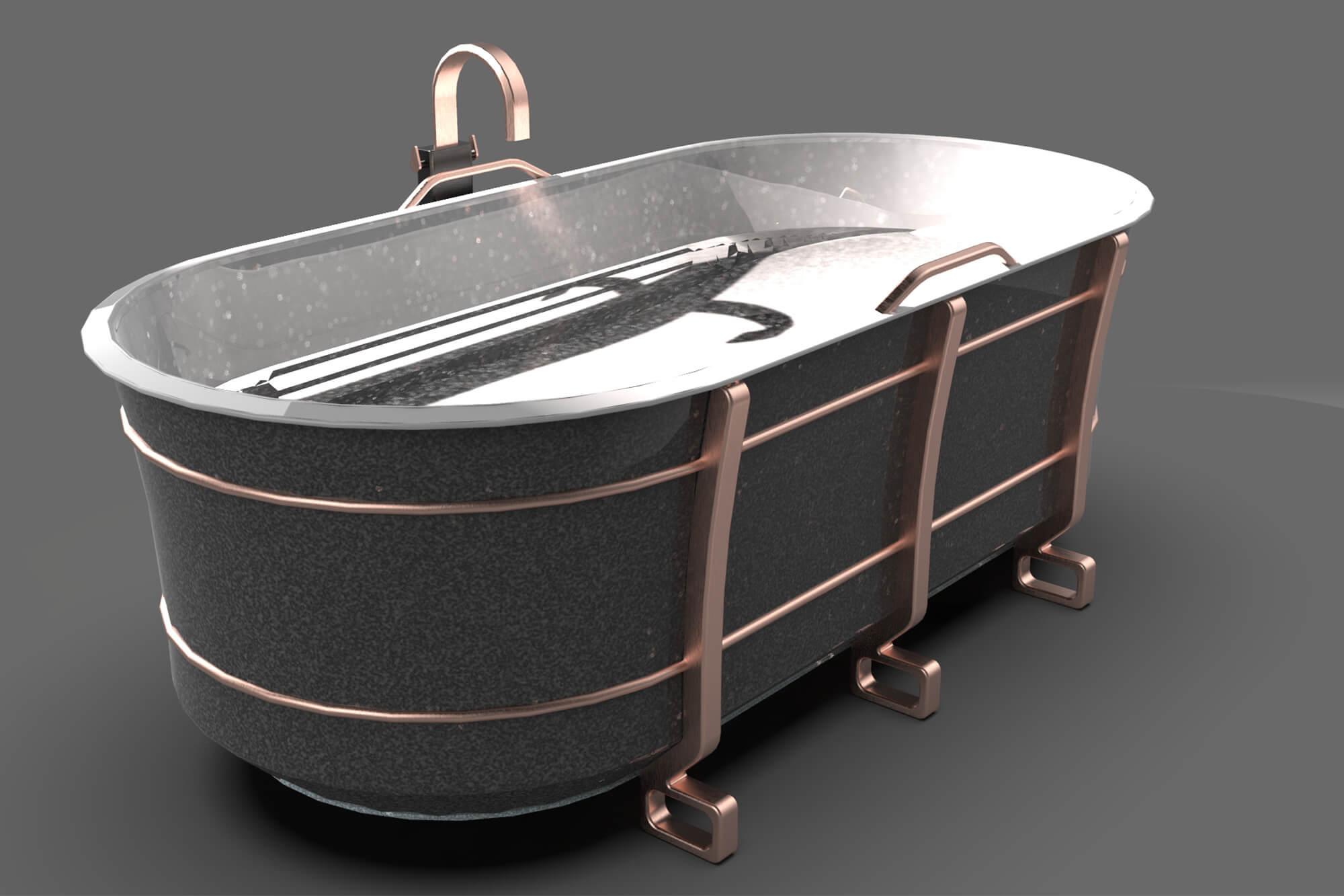 CAD design of a modern slate and metal bath with rose gold hardware