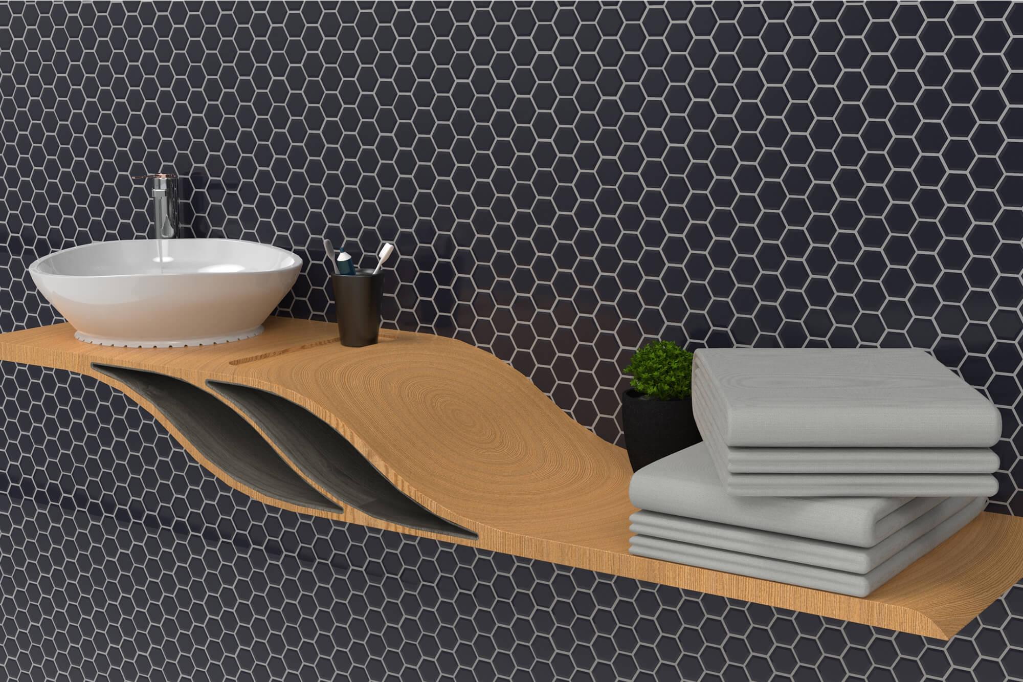 CAD design of a modern bathroom sink and shelf storage unit