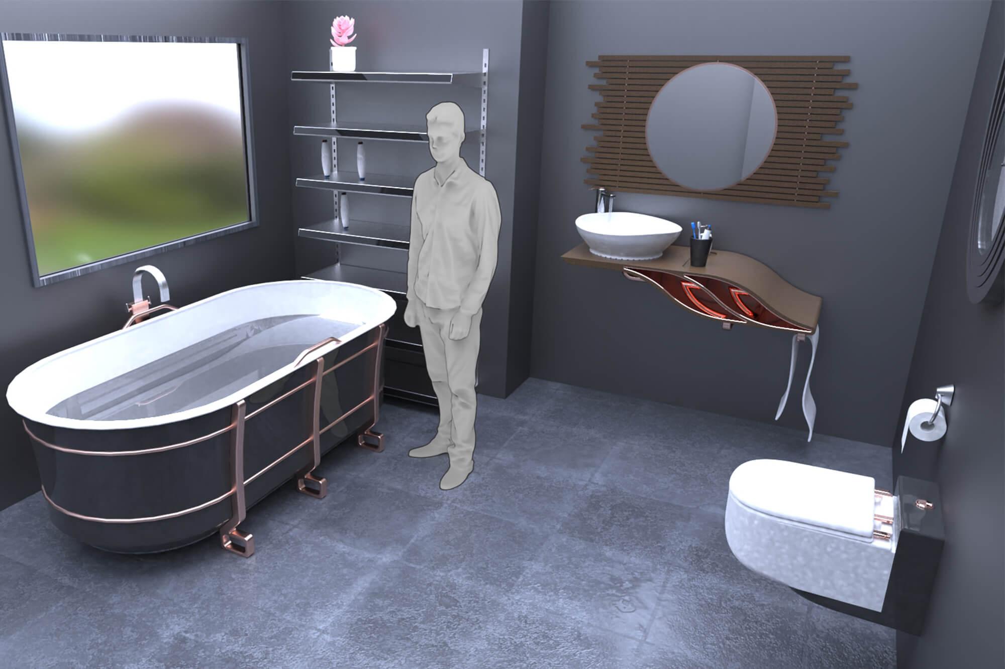 CAD design of a modern bathroom