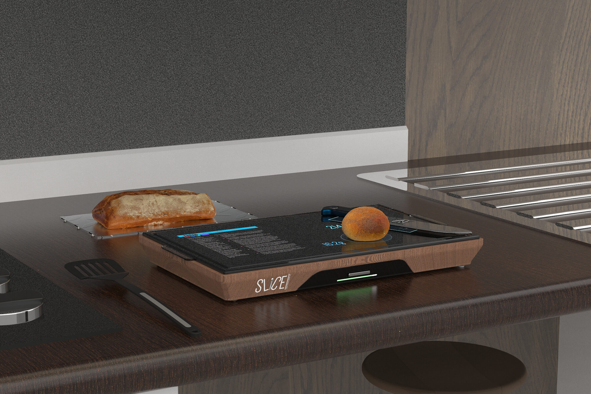 Digital image of a digital chopping board in use on a kitchen surface