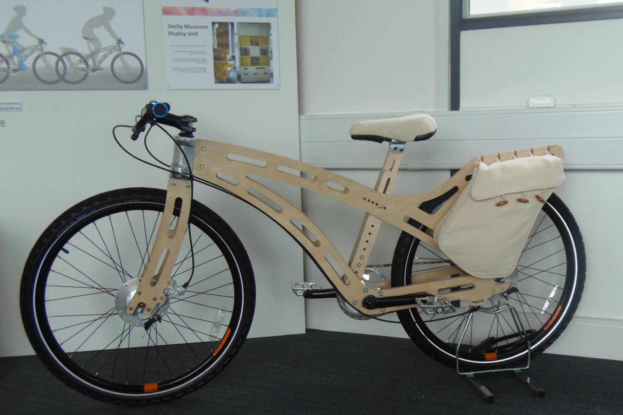A wooden bike on display