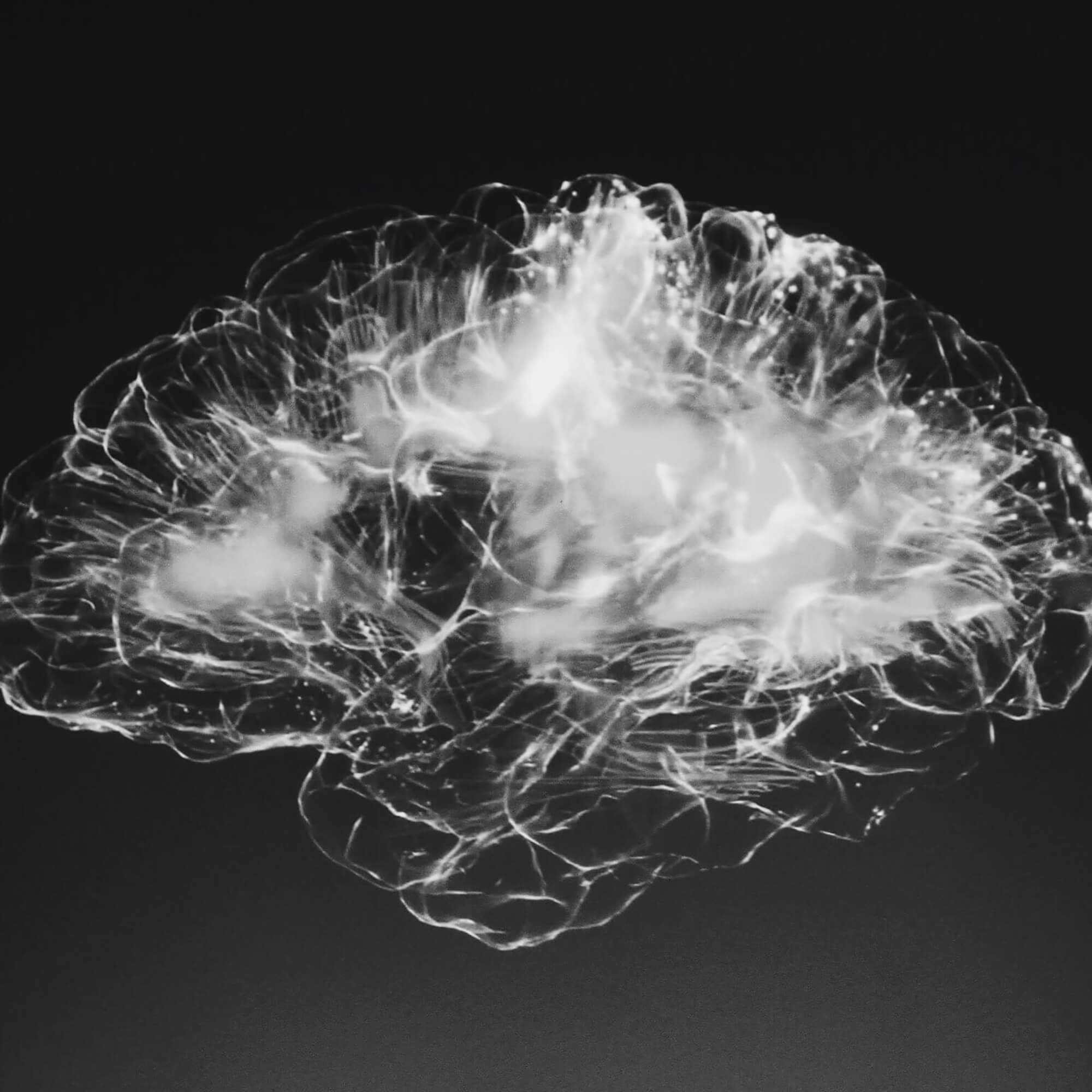 An abstract image of a white brain shape on a black background